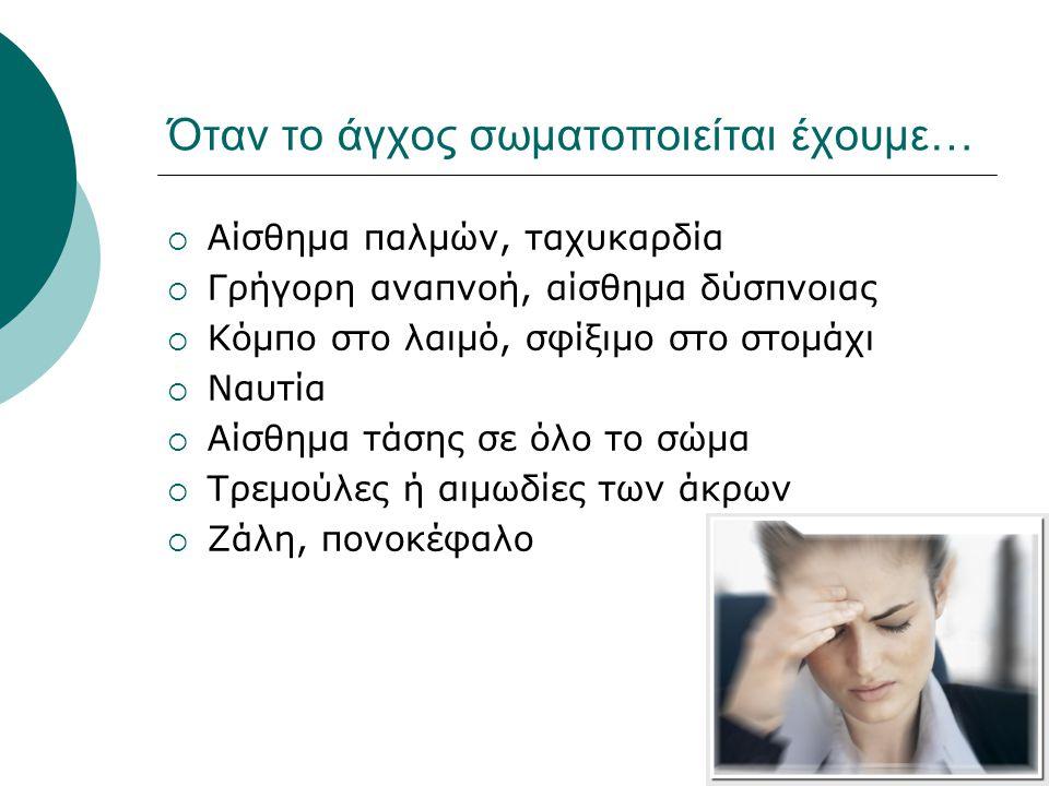 Όταν το άγχος σωματοποιείται έχουμε…  Αίσθημα παλμών, ταχυκαρδία  Γρήγορη αναπνοή, αίσθημα δύσπνοιας  Κόμπο στο λαιμό, σφίξιμο στο στομάχι  Ναυτία