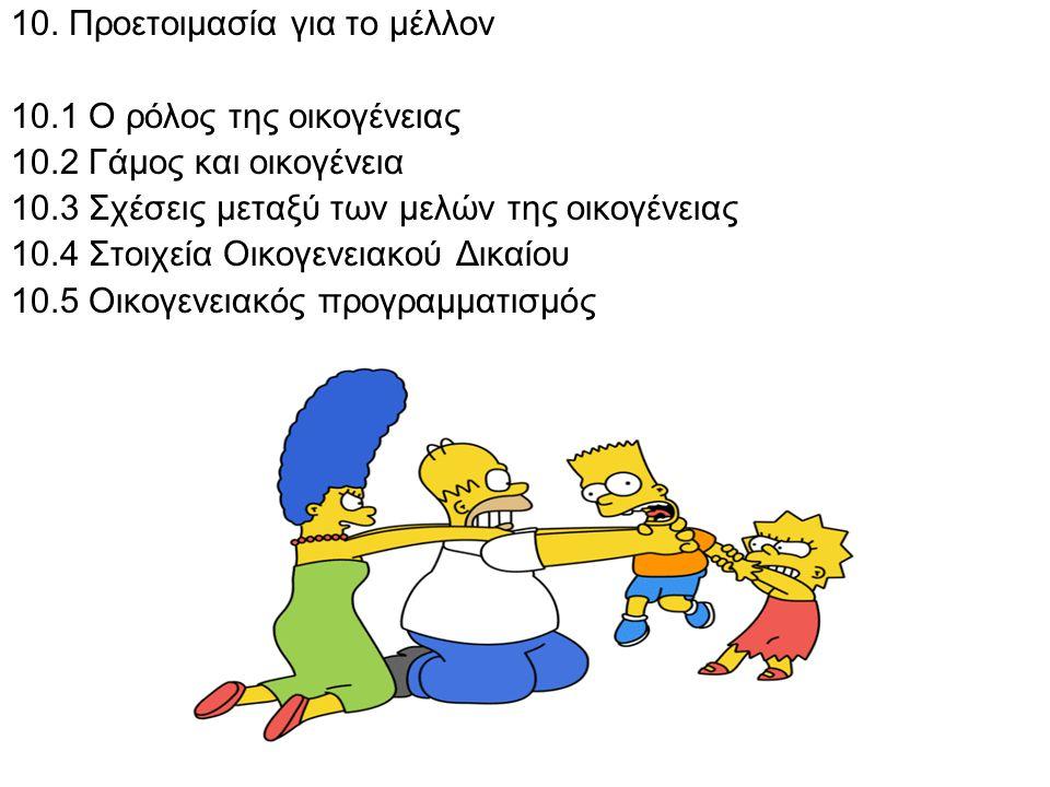 10. Προετοιμασία για το μέλλον 10.1 Ο ρόλος της οικογένειας 10.2 Γάμος και οικογένεια 10.3 Σχέσεις μεταξύ των μελών της οικογένειας 10.4 Στοιχεία Οικο