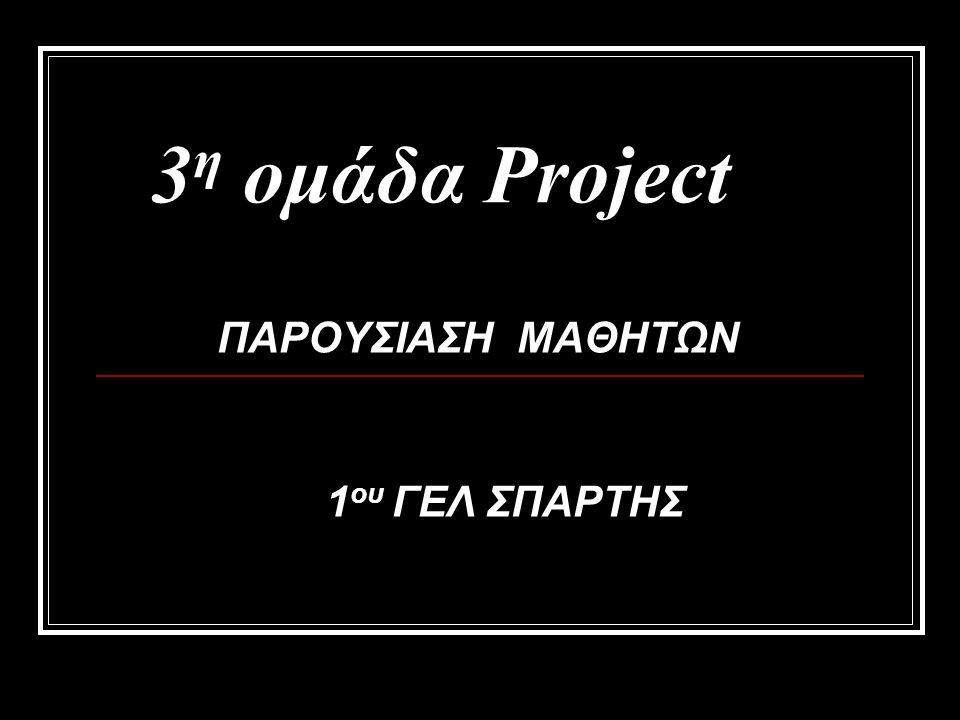 3 η ομάδα Project ΠΑΡΟΥΣΙΑΣΗ ΜΑΘΗΤΩΝ 1 ου ΓΕΛ ΣΠΑΡΤΗΣ