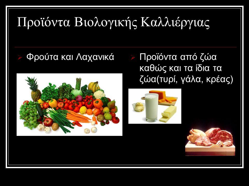 Προϊόντα Βιολογικής Καλλιέργιας  Φρούτα και Λαχανικά  Προϊόντα από ζώα καθώς και τα ίδια τα ζώα(τυρί, γάλα, κρέας)