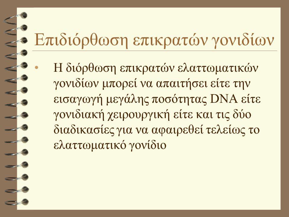 Επιδιόρθωση επικρατών γονιδίων •H διόρθωση επικρατών ελαττωματικών γονιδίων μπορεί να απαιτήσει είτε την εισαγωγή μεγάλης ποσότητας DNA είτε γονιδιακή χειρουργική είτε και τις δύο διαδικασίες για να αφαιρεθεί τελείως το ελαττωματικό γονίδιο
