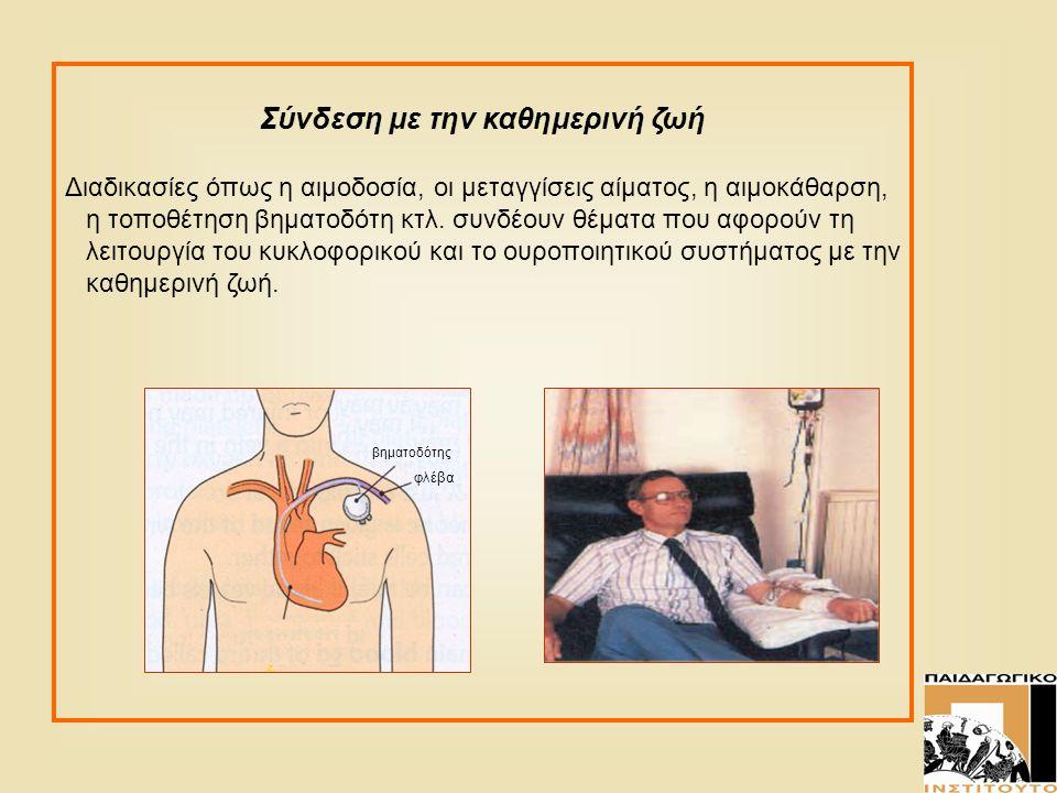Σύνδεση με την καθημερινή ζωή Διαδικασίες όπως η αιμοδοσία, οι μεταγγίσεις αίματος, η αιμοκάθαρση, η τοποθέτηση βηματοδότη κτλ. συνδέουν θέματα που αφ