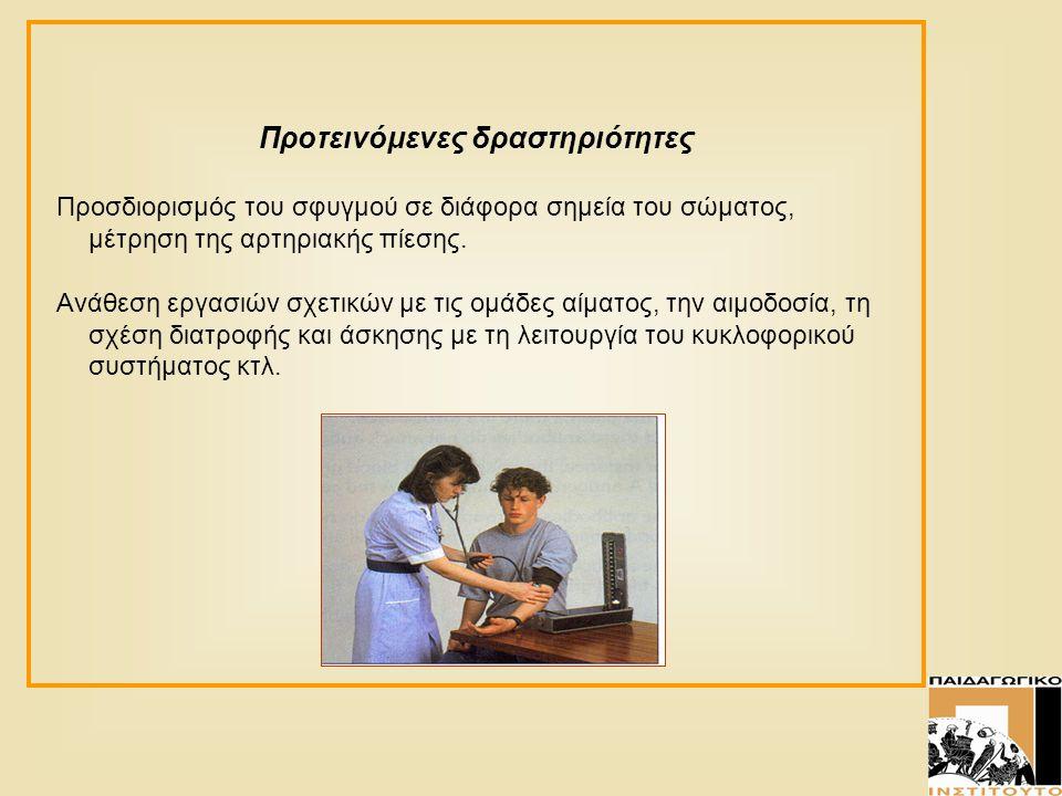 Προτεινόμενες δραστηριότητες Προσδιορισμός του σφυγμού σε διάφορα σημεία του σώματος, μέτρηση της αρτηριακής πίεσης. Ανάθεση εργασιών σχετικών με τις