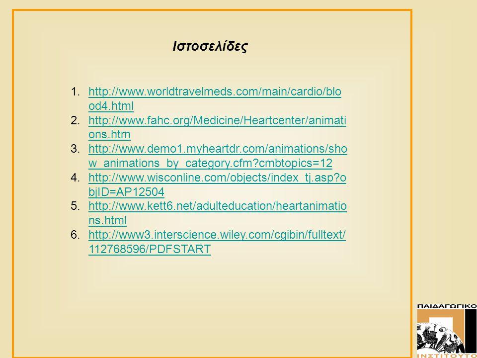 Ιστοσελίδες 1.http://www.worldtravelmeds.com/main/cardio/blo od4.htmlhttp://www.worldtravelmeds.com/main/cardio/blo od4.html 2.http://www.fahc.org/Med