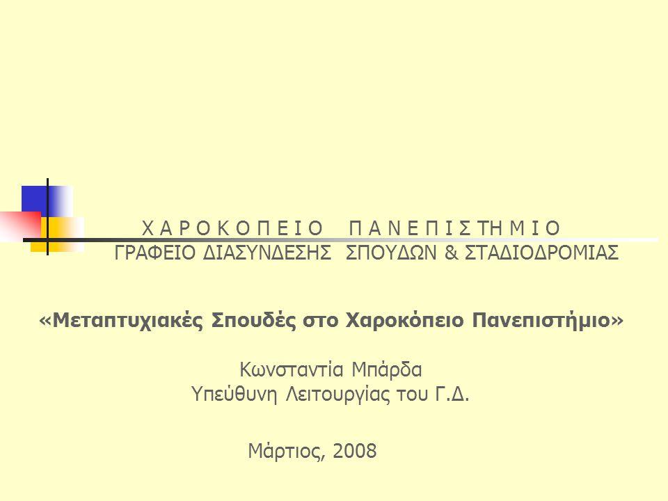 «Μεταπτυχιακές Σπουδές στο Χαροκόπειο Πανεπιστήμιο» Κωνσταντία Μπάρδα Υπεύθυνη Λειτουργίας του Γ.Δ. Χ Α Ρ Ο Κ Ο Π Ε Ι Ο Π Α Ν Ε Π Ι Σ ΤΗ Μ Ι Ο ΓΡΑΦΕΙΟ