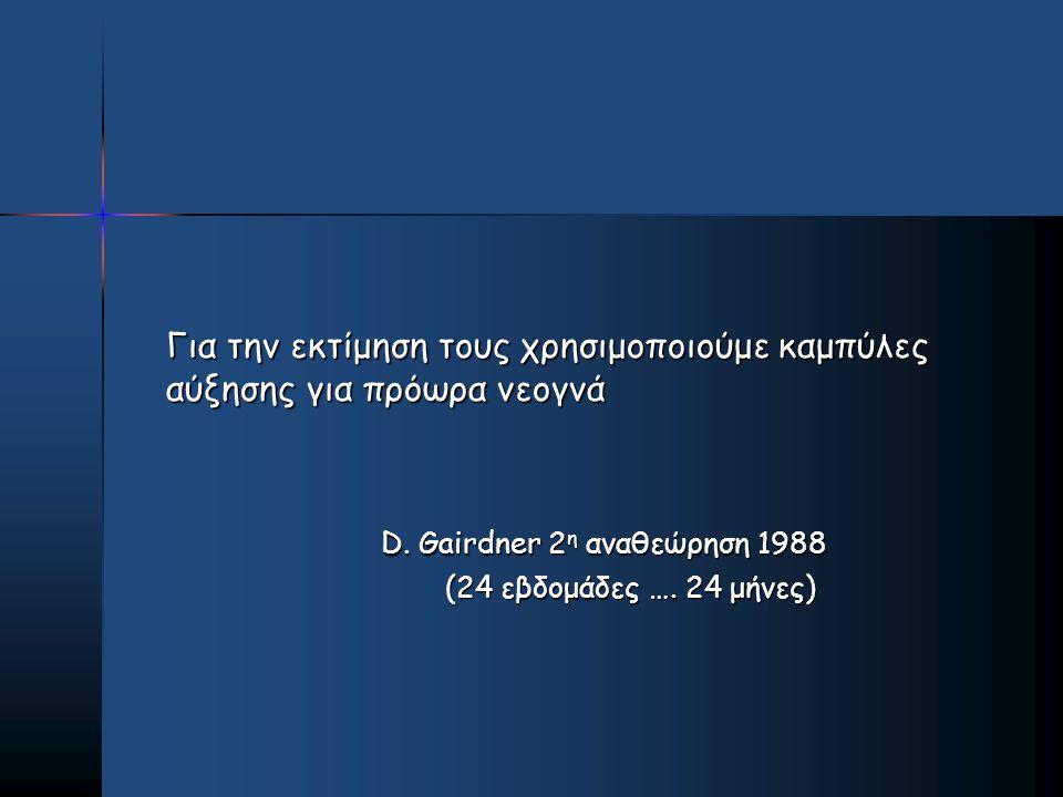 Για την εκτίμηση τους χρησιμοποιούμε καμπύλες αύξησης για πρόωρα νεογνά D. Gairdner 2 η αναθεώρηση 1988 D. Gairdner 2 η αναθεώρηση 1988 (24 εβδομάδες