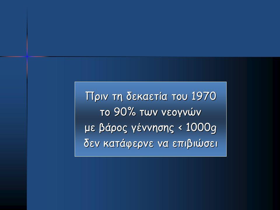 Πριν τη δεκαετία του 1970 το 90% των νεογνών με βάρος γέννησης < 1000g δεν κατάφερνε να επιβιώσει
