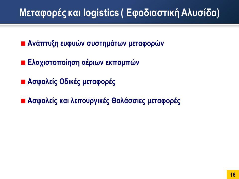 16 Μεταφορές και logistics ( Εφοδιαστική Αλυσίδα) Ανάπτυξη ευφυών συστημάτων μεταφορών Ελαχιστοποίηση αέριων εκπομπών Ασφαλείς Οδικές μεταφορές Ασφαλείς και λειτουργικές Θαλάσσιες μεταφορές