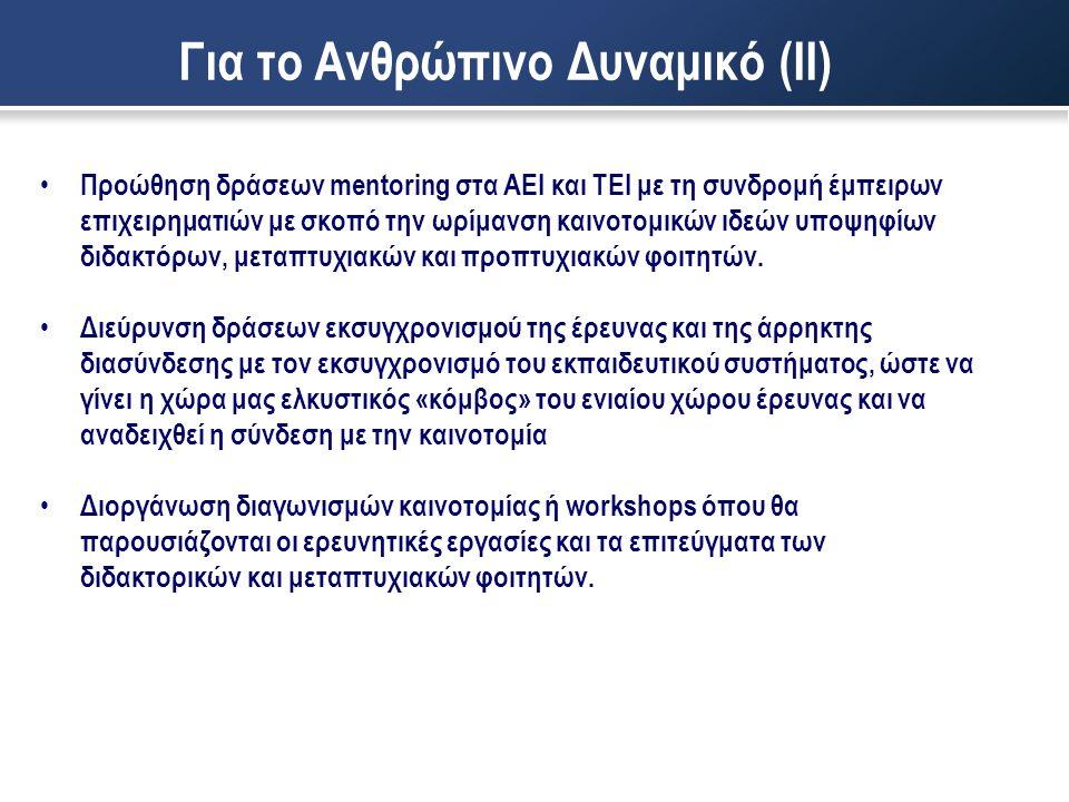Για το Ανθρώπινο Δυναμικό (ΙΙ) • Προώθηση δράσεων mentoring στα ΑΕΙ και ΤΕΙ με τη συνδρομή έμπειρων επιχειρηματιών με σκοπό την ωρίμανση καινοτομικών ιδεών υποψηφίων διδακτόρων, μεταπτυχιακών και προπτυχιακών φοιτητών.