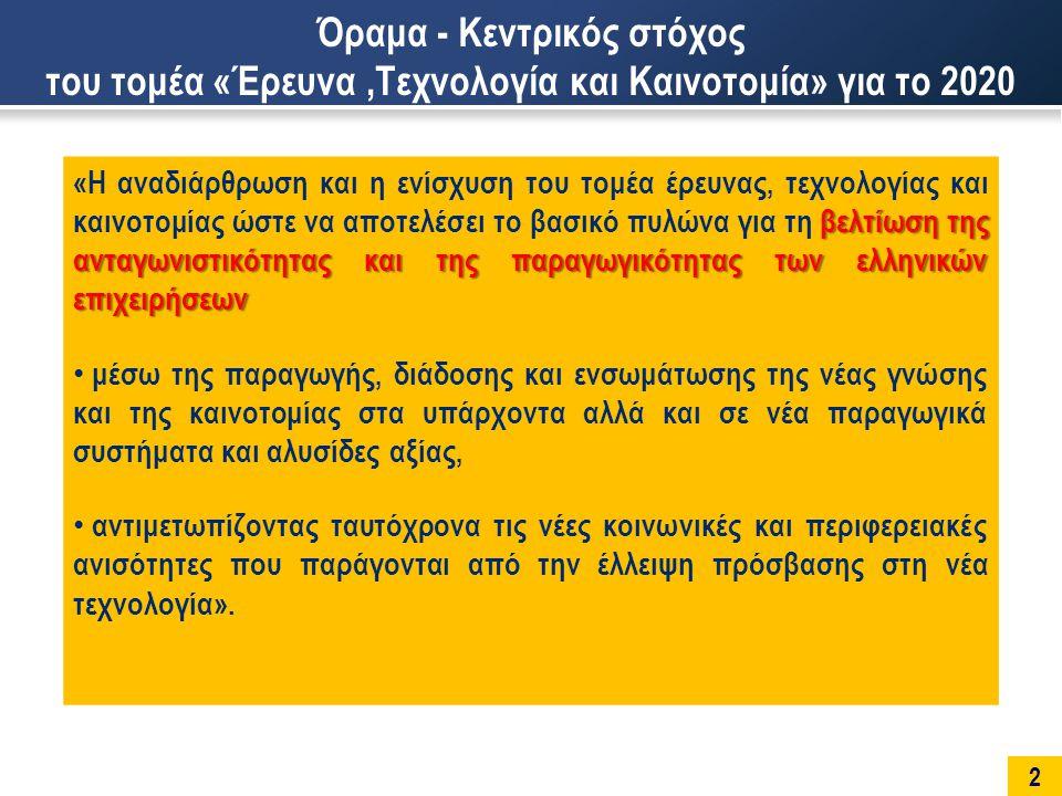 13 Υγεία και Φάρμακα Στήριξη σε όλο τον κύκλο της έρευνας και της καινοτομίας, με τη Ενίσχυση της ανταγωνιστικότητας των ελληνικών επιχειρήσεων και της ανάπτυξης νέων ευκαιριών στην αγορά Βελτίωση της κατανόησης της υγείας, των ασθενειών, της ανάπτυξης (του οργανισμού) και της γήρανσης και μετάφραση αυτής της γνώσης σε καινοτόμα και αποτελεσματικά προϊόντα, στρατηγικές, παρεμβάσεις και υπηρεσίες προς όφελος των ασθενών και όλων των πολιτών