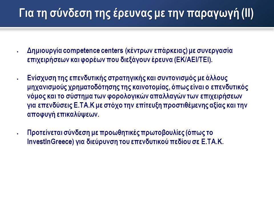  Δημιουργία competence centers (κέντρων επάρκειας) με συνεργασία επιχειρήσεων και φορέων που διεξάγουν έρευνα (ΕΚ/ΑΕΙ/ΤΕΙ).