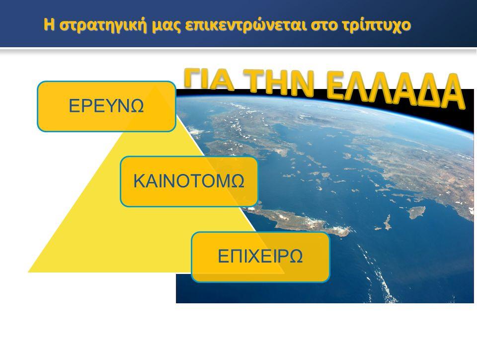 Η στρατηγική μας επικεντρώνεται στο τρίπτυχο ΕΡΕΥΝΩΚΑΙΝΟΤΟΜΩΕΠΙΧΕΙΡΩ