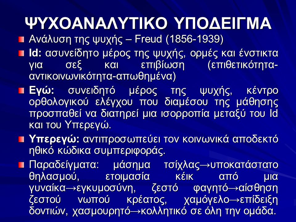 ΨΥΧΟΑΝΑΛΥΤΙΚΟ ΥΠΟΔΕΙΓΜΑ Ανάλυση της ψυχής – Freud (1856-1939) Id: ασυνείδητο μέρος της ψυχής, ορμές και ένστικτα για σεξ και επιβίωση (επιθετικότητα-