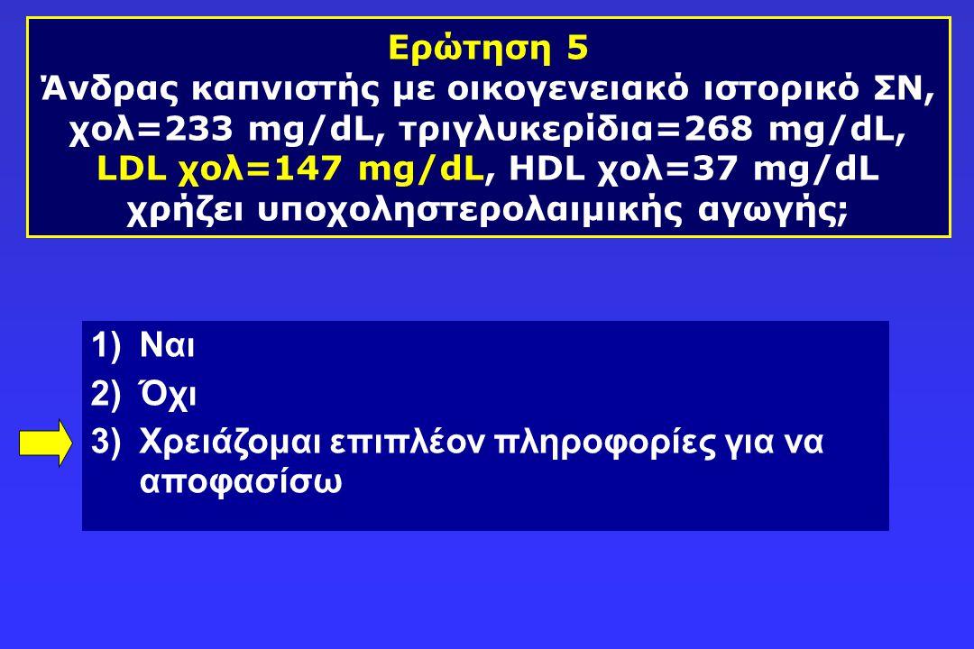 Ερώτηση 5 Άνδρας καπνιστής με οικογενειακό ιστορικό ΣΝ, χολ=233 mg/dL, τριγλυκερίδια=268 mg/dL, LDL χολ=147 mg/dL, HDL χολ=37 mg/dL χρήζει υποχοληστερ