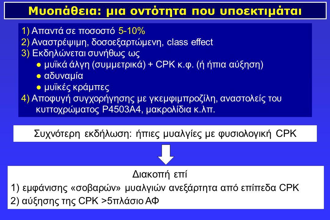 Μυοπάθεια: μια οντότητα που υποεκτιμάται 1) Απαντά σε ποσοστό 5-10% 2) Αναστρέψιμη, δοσοεξαρτώμενη, class effect 3) Εκδηλώνεται συνήθως ως ● μυϊκά άλγ