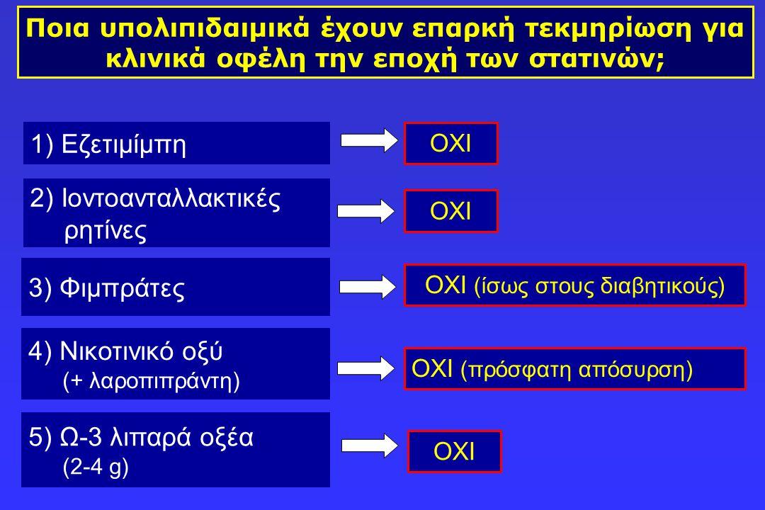 Ποια υπολιπιδαιμικά έχουν επαρκή τεκμηρίωση για κλινικά οφέλη την εποχή των στατινών; 2) Ιοντοανταλλακτικές ρητίνες 1) Εζετιμίμπη ΟΧΙ 3) Φιμπράτες 4)