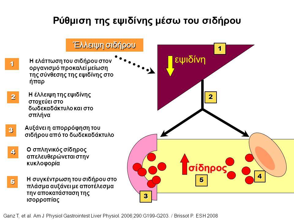 Ρύθμιση της εψιδίνης μέσω του σιδήρου 1 Η ελάττωση του σιδήρου στον οργανισμό προκαλεί μείωση της σύνθεσης της εψιδίνης στο ήπαρ 3 Αυξάνει η απορρόφησ
