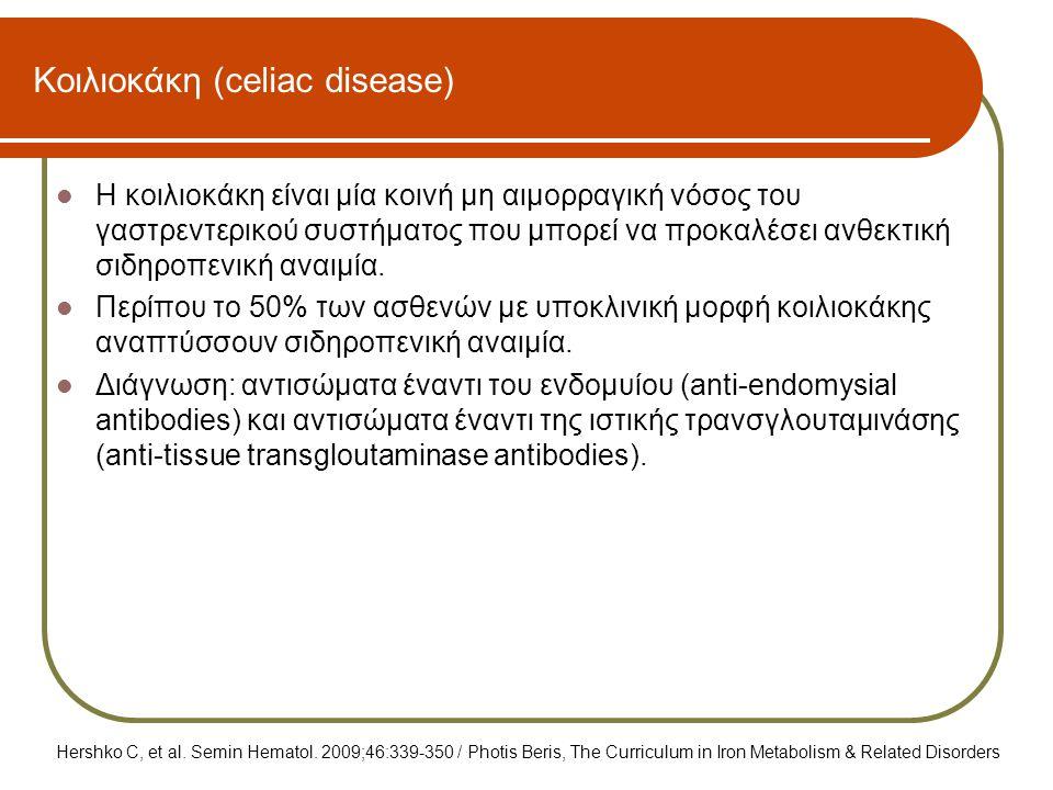 Κοιλιοκάκη (celiac disease)  Η κοιλιοκάκη είναι μία κοινή μη αιμορραγική νόσος του γαστρεντερικού συστήματος που μπορεί να προκαλέσει ανθεκτική σιδηρ