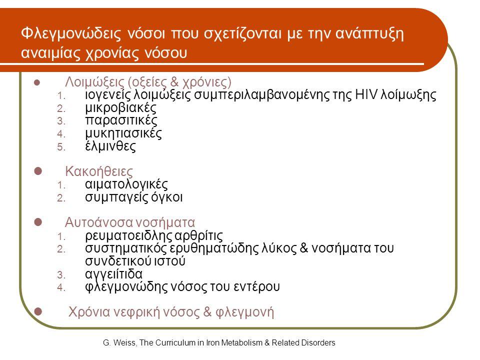 Φλεγμονώδεις νόσοι που σχετίζονται με την ανάπτυξη αναιμίας χρονίας νόσου  Λοιμώξεις (οξείες & χρόνιες) 1. ιογενείς λοιμώξεις συμπεριλαμβανομένης της