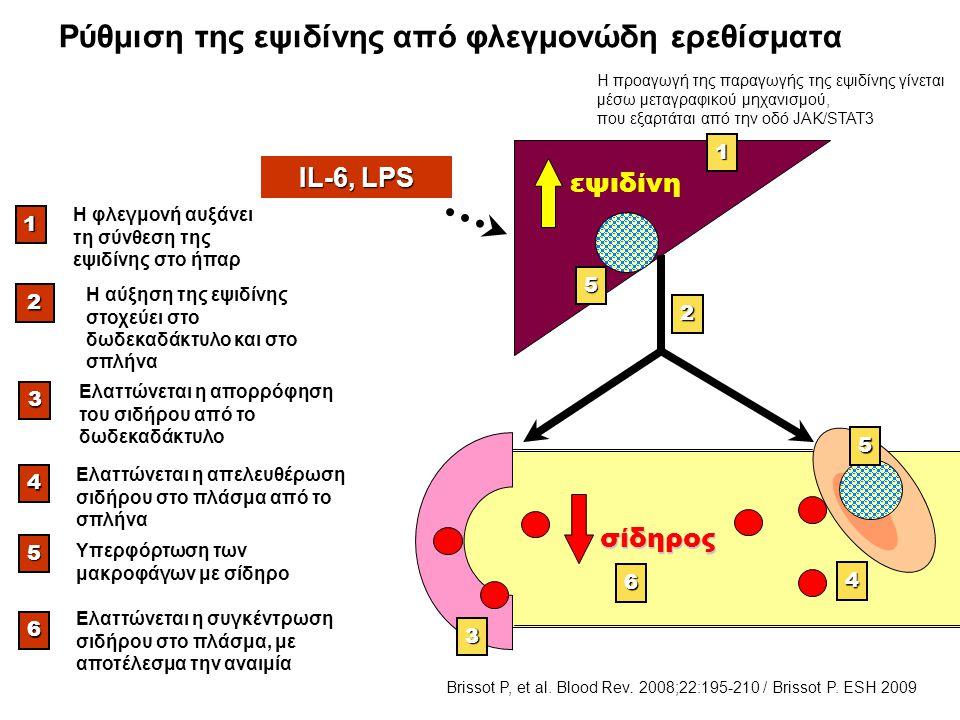 Ρύθμιση της εψιδίνης από φλεγμονώδη ερεθίσματα1 Η φλεγμονή αυξάνει τη σύνθεση της εψιδίνης στο ήπαρ 3 Ελαττώνεται η απορρόφηση του σιδήρου από το δωδε