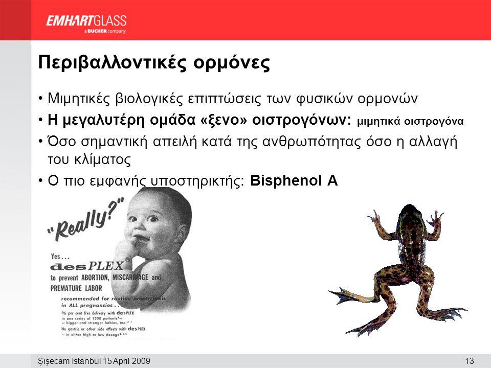 13Şişecam Istanbul 15 April 2009 Περιβαλλοντικές ορμόνες •Μιμητικές βιολογικές επιπτώσεις των φυσικών ορμονών •Η μεγαλυτέρη ομάδα «ξενο» οιστρογόνων: