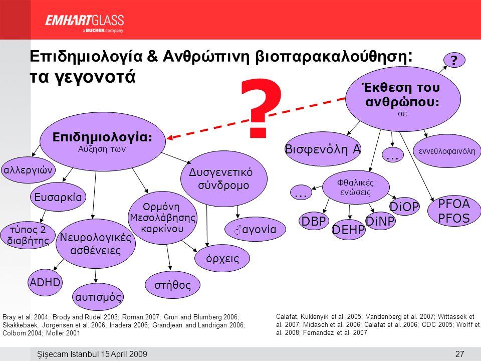 27Şişecam Istanbul 15 April 2009 Επιδημιολογία & Ανθρώπινη βιοπαρακαλούθηση : τα γεγονοτά ? Bray et al. 2004; Brody and Rudel 2003; Roman 2007; Grun a