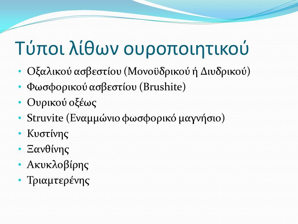 Παράγοντες κινδύνου για υποτροπή λιθίασης  Έναρξη της νόσου < 25 ετών  Brushite λιθίαση  Μονήρης λειτουργικός νεφρός  Νόσοι :  Φάρμακα (τριαμτερένη, ινδιναβίρη, συμπληρώματα ασβεστίου και βιταμίνης D)  Ανατομικές ανωμαλίες:  Νόσος Crohn  Υπερπαραθυρεοειδισμός  Σύνδρομα δυσαπορρόφησης  Εκτομή λεπτού εντέρου  Σωληναριακή οξέωση  Υπερθυρεοειδισμός  Σαρκοείδωση  Σπογγώδης Μυελώδης Νεφρός  Στένωση PUJ  Στένωμα ουρητήρα  ΚΟΥΠ  Εκκόλπωμα κάλυκα  Πεταλοειδής νεφρός EAU Guidelines Lithiasis