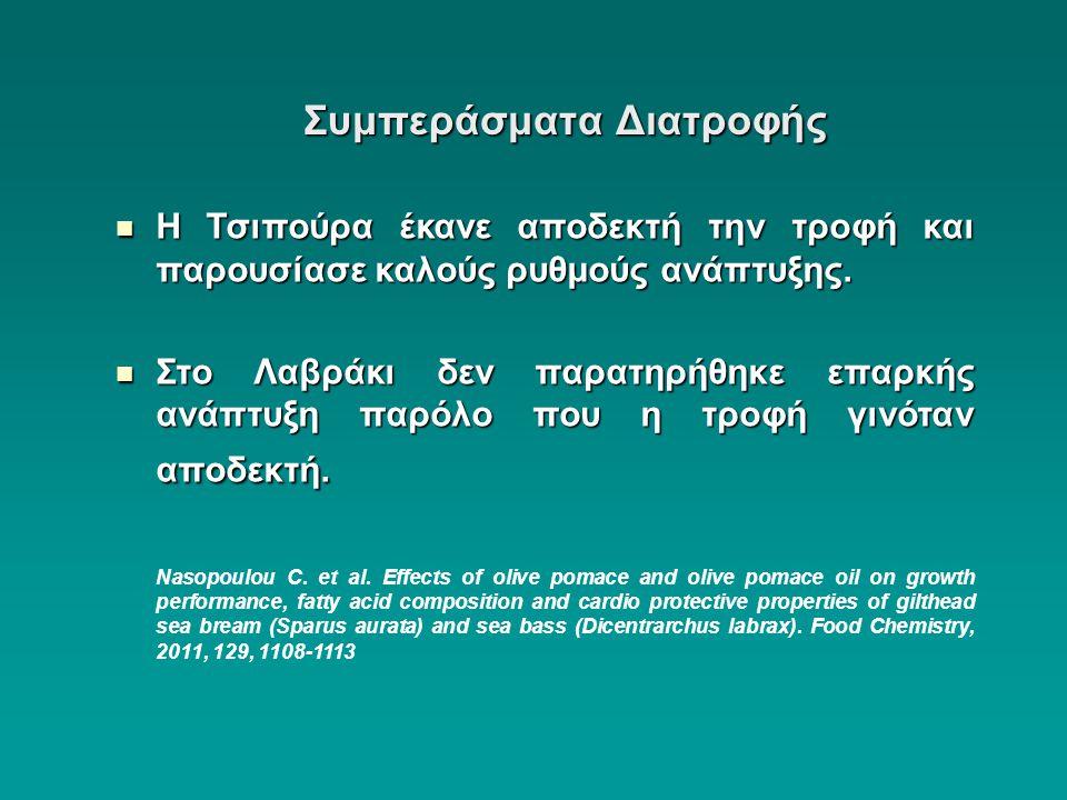 Συμπεράσματα Διατροφής  Η Τσιπούρα έκανε αποδεκτή την τροφή και παρουσίασε καλούς ρυθμούς ανάπτυξης.  Στο Λαβράκι δεν παρατηρήθηκε επαρκής ανάπτυξη