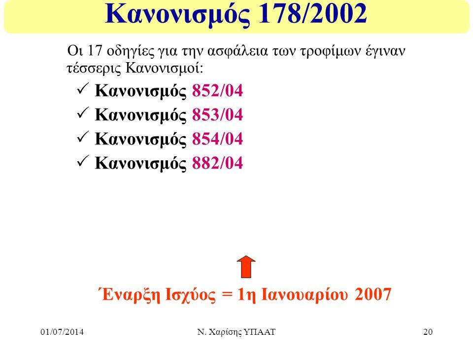 01/07/2014Ν. Χαρίσης ΥΠΑΑΤ20 Κανονισμός 178/2002 Οι 17 οδηγίες για την ασφάλεια των τροφίμων έγιναν τέσσερις Κανονισμοί:  Κανονισμός 852/04  Κανονισ