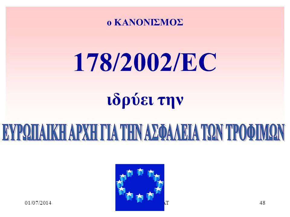01/07/2014Ν. Χαρίσης ΥΠΑΑΤ48 ο ΚΑΝΟΝΙΣΜΟΣ 178/2002/EC ιδρύει την