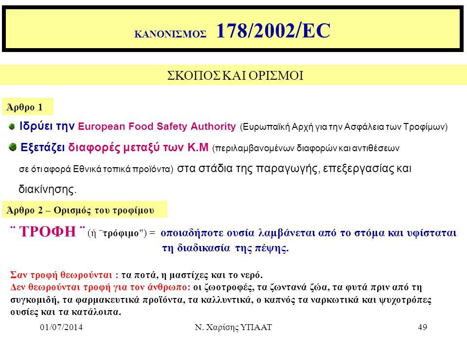 01/07/2014Ν. Χαρίσης ΥΠΑΑΤ49 ΣΚΟΠΟΣ ΚΑΙ ΟΡΙΣΜΟΙ Άρθρο 1 Άρθρο 2 – Ορισμός του τροφίμου Ιδρύει την European Food Safety Authority (Ευρωπαϊκή Αρχή για τ