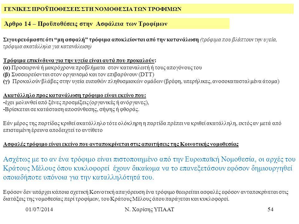 """01/07/2014Ν. Χαρίσης ΥΠΑΑΤ54 Άρθρο 14 – Προϋποθέσεις στην Ασφάλεια των Τροφίμων ΓΕΝΙΚΕΣ ΠΡΟΫΠΟΘΕΣΕΙΣ ΣΤΗ ΝΟΜΟΘΕΣΙΑ ΤΩΝ ΤΡΟΦΙΜΩΝ Σιγουρευόμαστε ότι """"μη"""