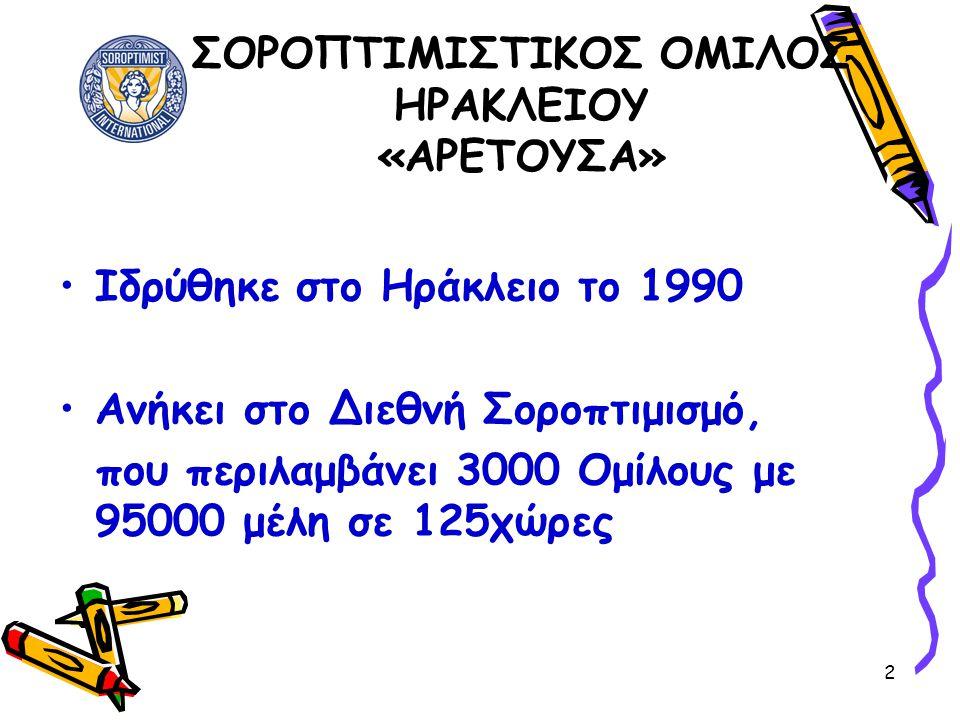 2 ΣΟΡΟΠΤΙΜΙΣΤΙΚΟΣ ΟΜΙΛΟΣ ΗΡΑΚΛΕΙΟΥ «ΑΡΕΤΟΥΣΑ» •Ιδρύθηκε στο Ηράκλειο το 1990 •Ανήκει στο Διεθνή Σοροπτιμισμό, που περιλαμβάνει 3000 Ομίλους με 95000 μ