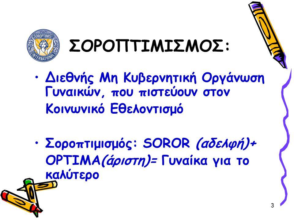 3 ΣΟΡΟΠΤΙΜΙΣΜΟΣ: •Διεθνής Μη Κυβερνητική Οργάνωση Γυναικών, που πιστεύουν στον Κοινωνικό Εθελοντισμό •Σοροπτιμισμός: SOROR (αδελφή)+ OPTIMA(άριστη)= Γ