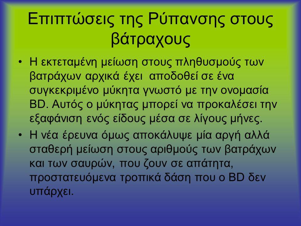 •Η εκτεταμένη μείωση στους πληθυσμούς των βατράχων αρχικά έχει αποδοθεί σε ένα συγκεκριμένο μύκητα γνωστό με την ονομασία BD. Αυτός ο μύκητας μπορεί ν