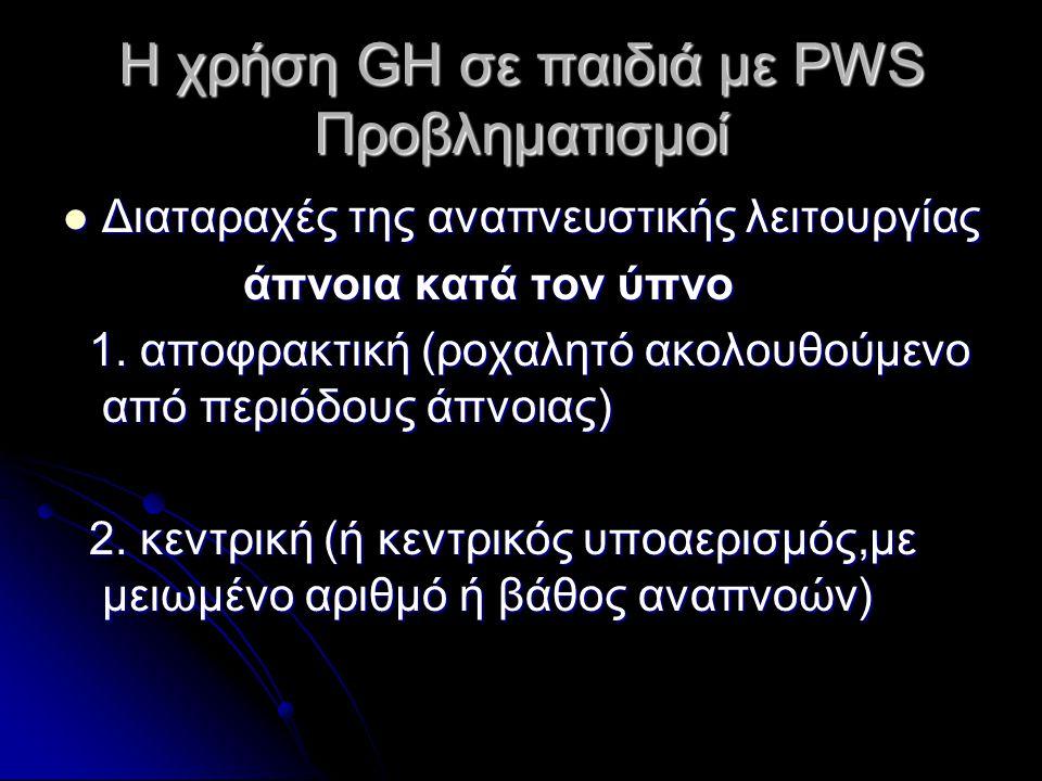 Η χρήση GH σε παιδιά με PWS Προβληματισμοί  Διαταραχές της αναπνευστικής λειτουργίας άπνοια κατά τον ύπνο άπνοια κατά τον ύπνο 1. αποφρακτική (ροχαλη