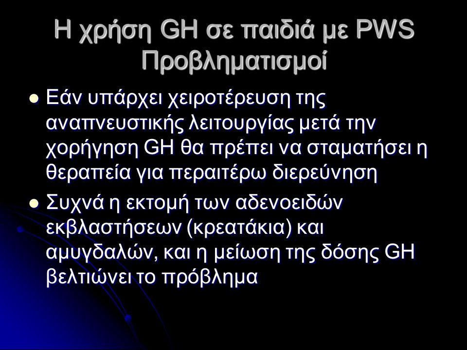Η χρήση GH σε παιδιά με PWS Προβληματισμοί  Εάν υπάρχει χειροτέρευση της αναπνευστικής λειτουργίας μετά την χορήγηση GH θα πρέπει να σταματήσει η θερ