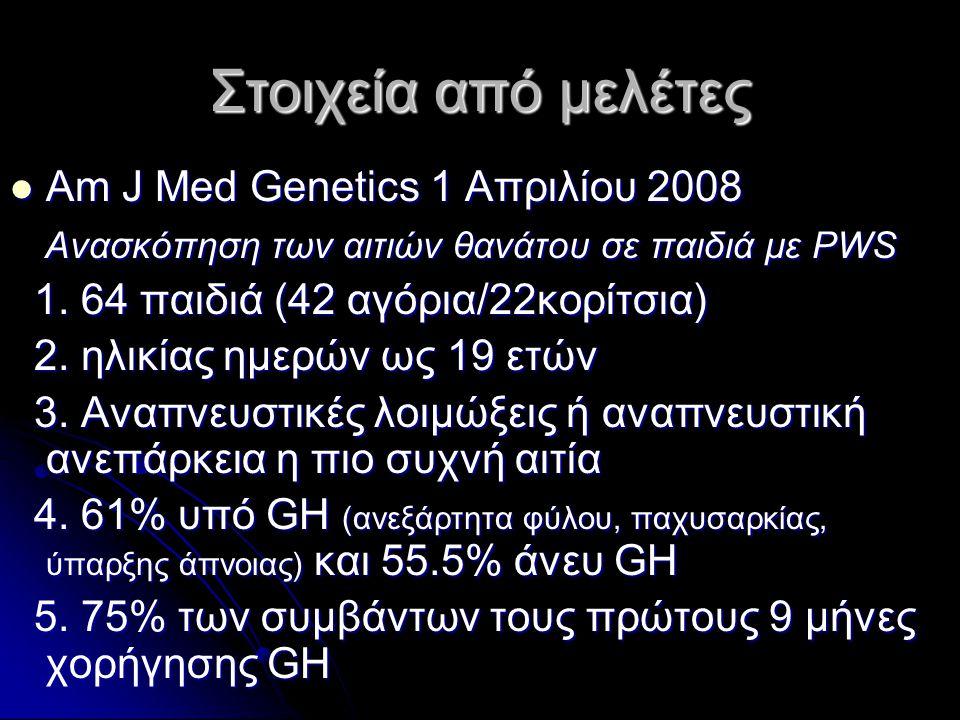 Στοιχεία από μελέτες  Am J Μed Genetics 1 Απριλίου 2008 Ανασκόπηση των αιτιών θανάτου σε παιδιά με PWS Ανασκόπηση των αιτιών θανάτου σε παιδιά με PWS