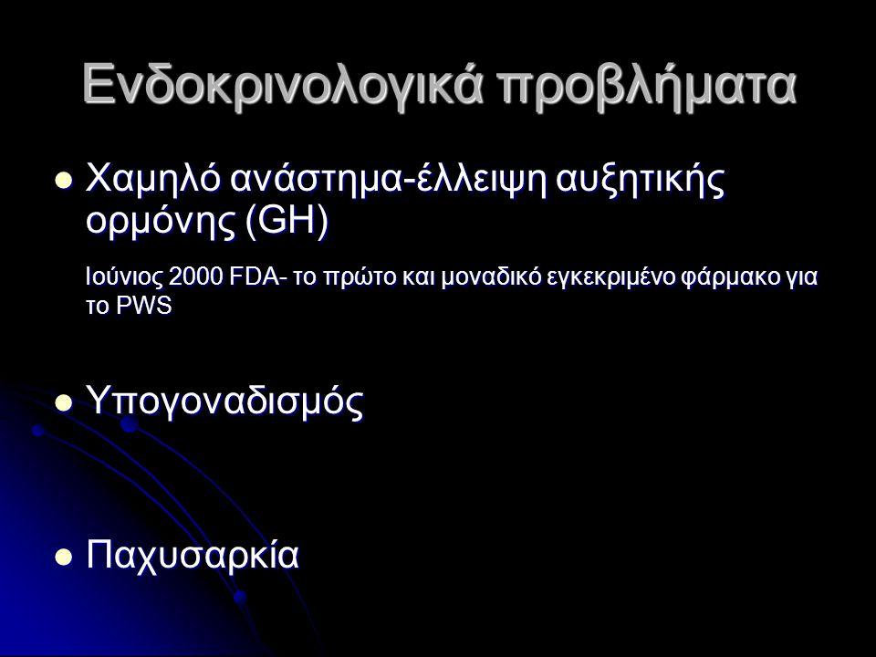 Ενδοκρινολογικά προβλήματα  Χαμηλό ανάστημα-έλλειψη αυξητικής ορμόνης (GH) Ιούνιος 2000 FDA- το πρώτο και μοναδικό εγκεκριμένο φάρμακο για το PWS Ιού