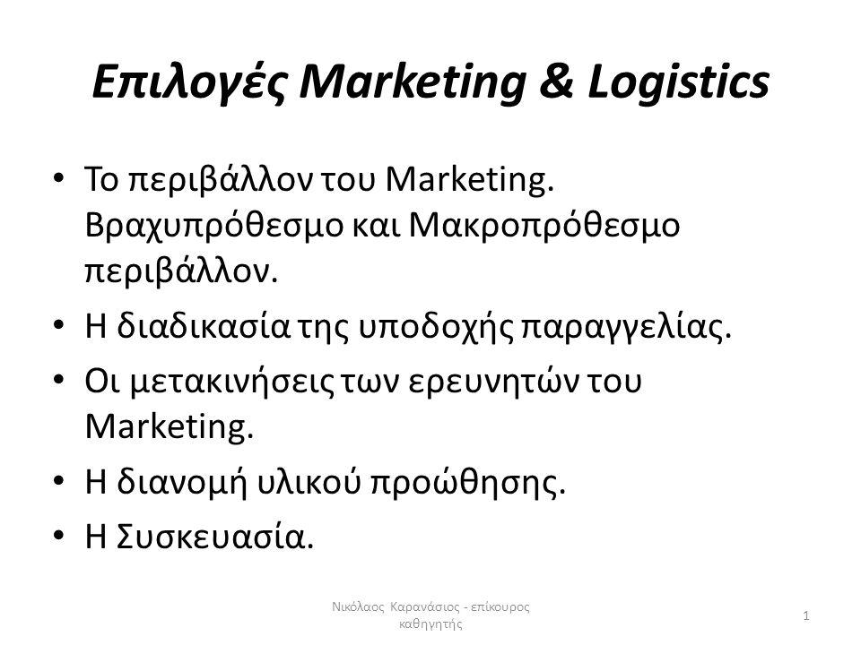 Επιλογές Marketing & Logistics • Το περιβάλλον του Marketing. Βραχυπρόθεσμο και Μακροπρόθεσμο περιβάλλον. • Η διαδικασία της υποδοχής παραγγελίας. • Ο