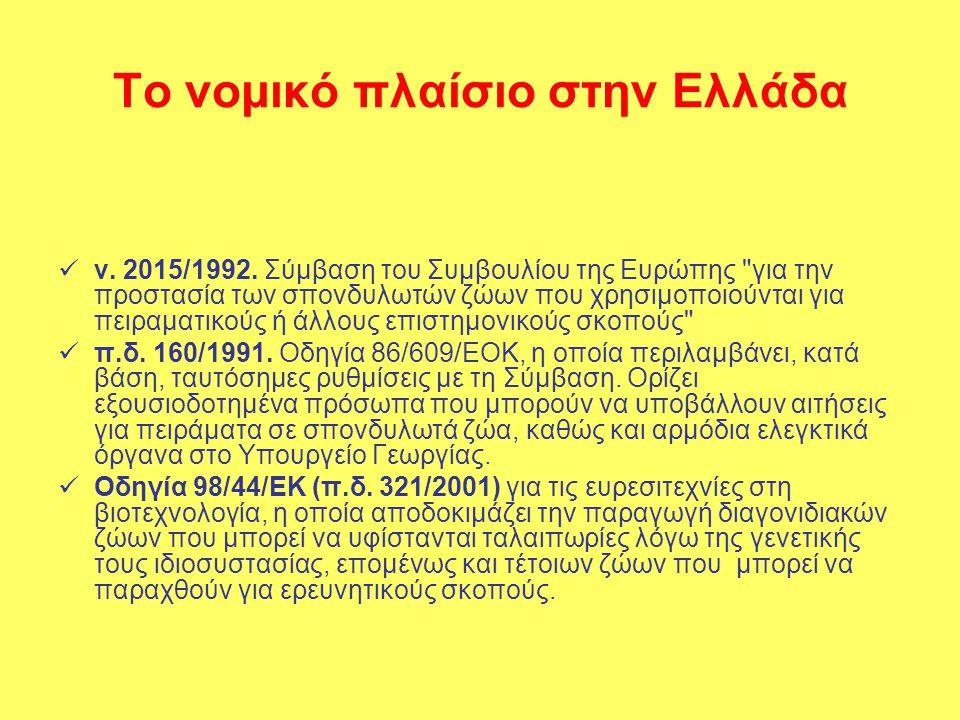Το νομικό πλαίσιο στην Ελλάδα  ν. 2015/1992.