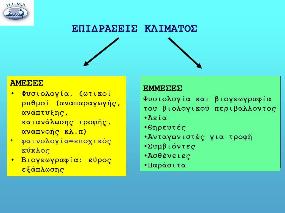 ΕΠΙΔΡΑΣΕΙΣ ΚΛΙΜΑΤΟΣ ΑΜΕΣΕΣ •Φυσιολογία, ζωτικοί ρυθμοί (αναπαραγωγής, ανάπτυξης, κατανάλωσης τροφής, αναπνοής κλ.π) • φαινολογία=εποχικός κύκλος •Βιογεωγραφία: εύρος εξάπλωσης ΕΜΜΕΣΕΣ Φυσιολογία και βιογεωγραφία του βιολογικού περιβάλλοντος •Λεία •Θηρευτές •Ανταγωνιστές για τροφή •Συμβιόντες •Ασθένειες •Παράσιτα
