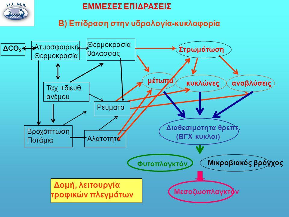 B) Επίδραση στην υδρολογία-κυκλοφορία Ατμοσφαιρική Θερμοκρασία ΔCO 2 Θερμοκρασία θάλασσας Βροχόπτωση Ποτάμια Αλατότητα μέτωπα αναβλύσεις κυκλώνες ΕΜΜΕΣΕΣ ΕΠΙΔΡΑΣΕΙΣ Ρεύματα Φυτοπλαγκτόν Μικροβιακός βρόγχος Μεσοζωοπλαγκτόν Δομή, λειτουργία τροφικών πλεγμάτων Ταχ.+διευθ.