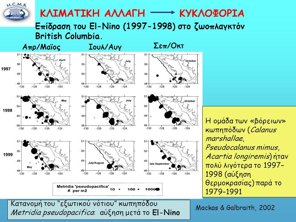 Κατανομή του εξωτικού νότιου κωπηπόδου Metridia pseudopacifica: αύξηση μετά το El-Nino Επίδραση του El-Nino (1997-1998) στο ζωοπλαγκτόν British Columbia.