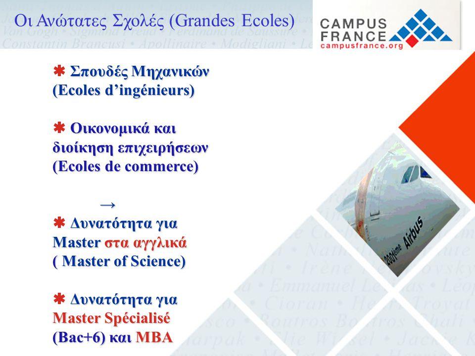 Οι Ανώτατες Σχολές (Grandes Ecoles) Σπουδές Μηχανικών  Σπουδές Μηχανικών (Ecoles d'ingénieurs) Οικονομικά και διοίκηση επιχειρήσεων  Οικονομικά και διοίκηση επιχειρήσεων (Ecoles de commerce) → Δυνατότητα για Master στα αγγλικά  Δυνατότητα για Master στα αγγλικά (Master of Science) ( Master of Science) Δυνατότητα για Master Spécialisé (Bac+6) και MBA  Δυνατότητα για Master Spécialisé (Bac+6) και MBA