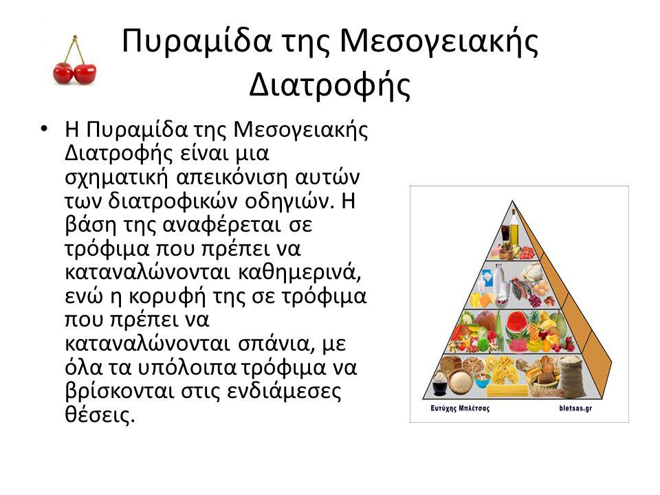 Πυραμίδα της Μεσογειακής Διατροφής • Η Πυραμίδα της Μεσογειακής Διατροφής είναι μια σχηματική απεικόνιση αυτών των διατροφικών οδηγιών. Η βάση της ανα