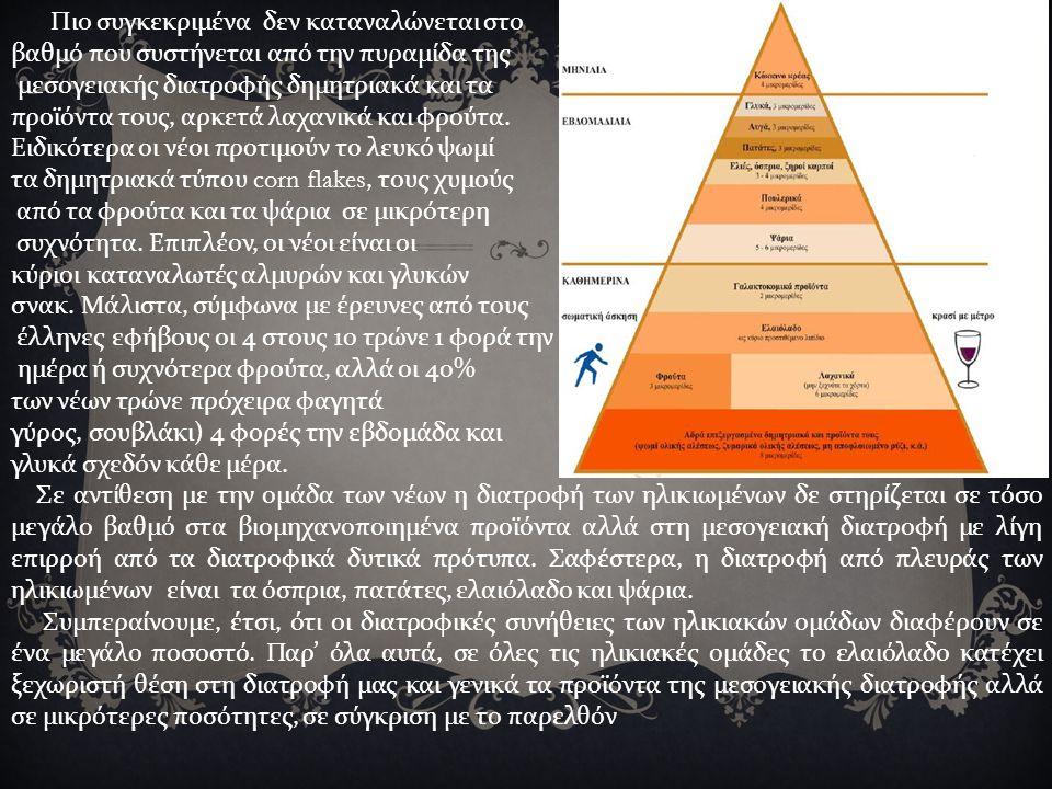 Πιο συγκεκριμένα δεν καταναλώνεται στο βαθμό που συστήνεται από την πυραμίδα της μεσογειακής διατροφής δημητριακά και τα προϊόντα τους, αρκετά λαχανικά και φρούτα.