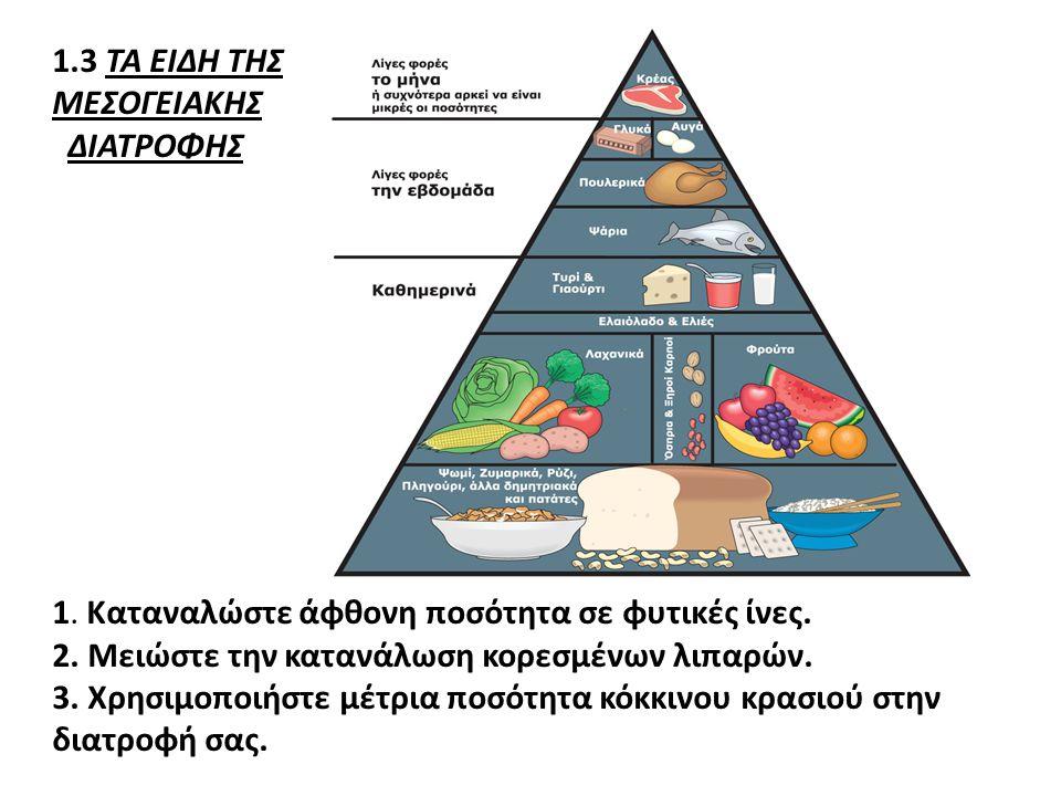 1.3 ΤΑ ΕΙΔΗ ΤΗΣ ΜΕΣΟΓΕΙΑΚΗΣ ΔΙΑΤΡΟΦΗΣ 1. Καταναλώστε άφθονη ποσότητα σε φυτικές ίνες. 2. Μειώστε την κατανάλωση κορεσμένων λιπαρών. 3. Χρησιμοποιήστε