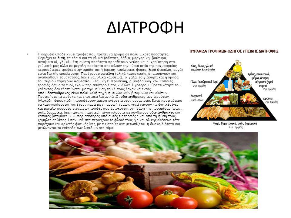 ΔΙΑΤΡΟΦΗ • Η κορυφή υποδεικνύει τροφές που πρέπει να τρώμε σε πολύ μικρές ποσότητες. Περιέχει τα λίπη, τα έλαια και τα γλυκά (σάλτσες, λάδια, μαργαρίν
