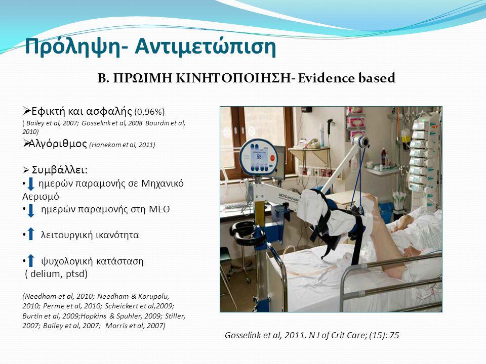 Πρόληψη- Αντιμετώπιση B.ΠΡΩΙΜΗ ΚΙΝΗΤΟΠΟΙΗΣΗ- Evidence based Gosselink et al, 2011.